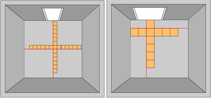 Укладка плитки по нанесенной разметке